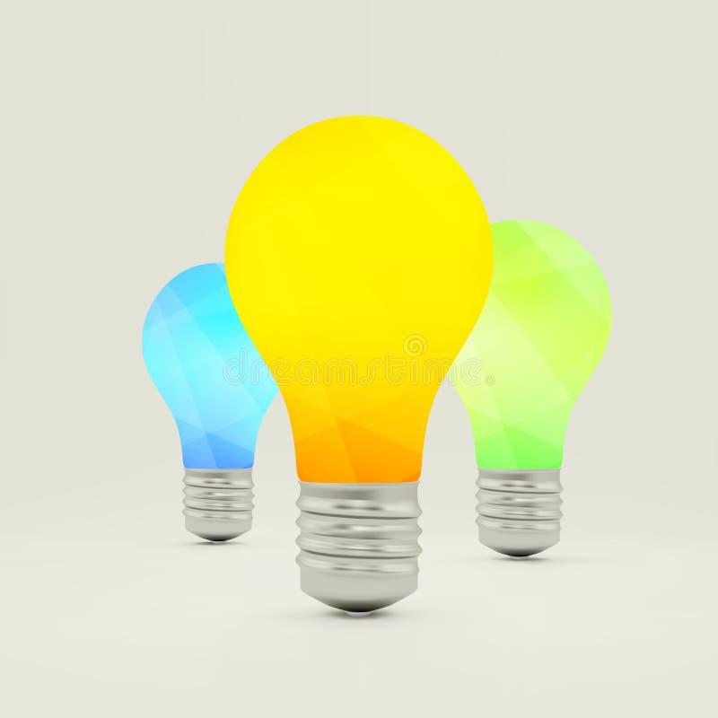 Het symbool van het Lightbulbidee 3d vectorillustratie royalty-vrije illustratie