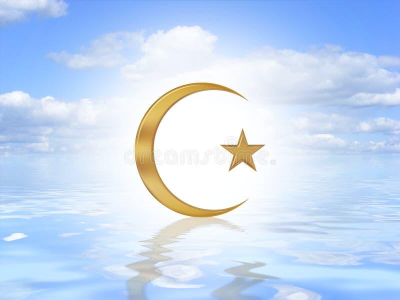 Het Symbool van het mohammedanisme op water stock illustratie