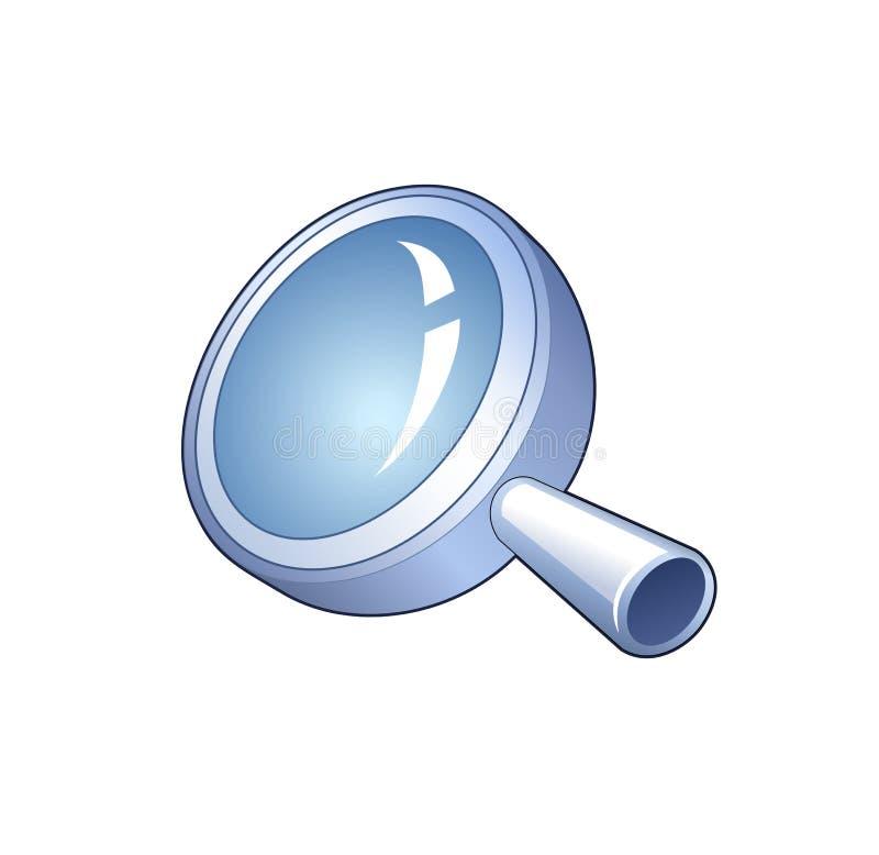 Het symbool van het onderzoek - gedetailleerd pictogram van vergrootglas