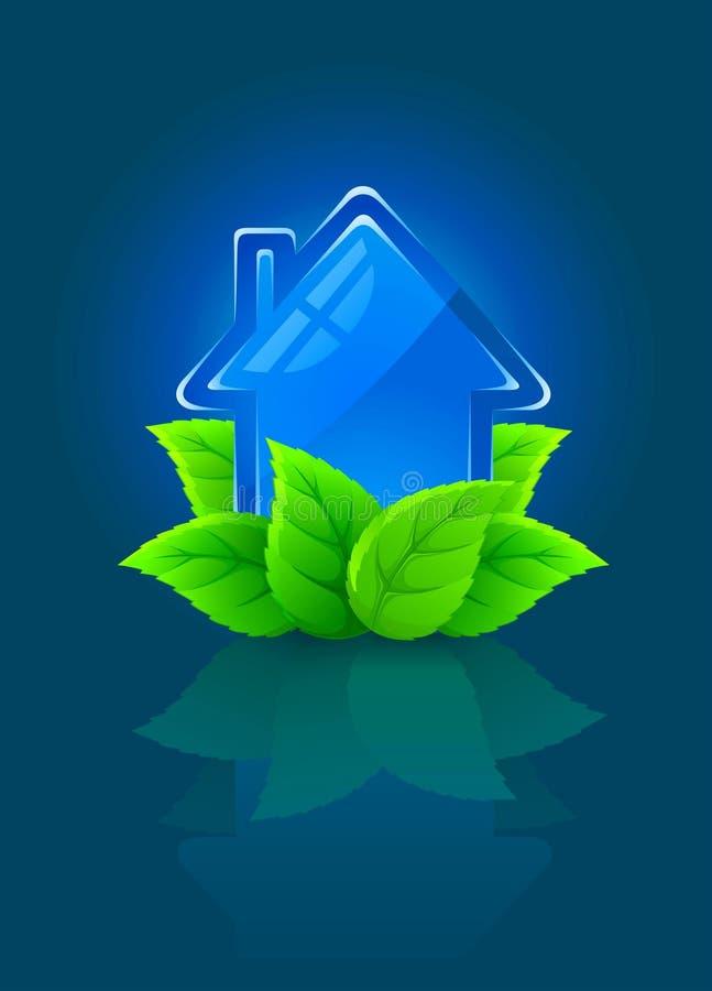 Het symbool van het pictogram van ecologisch huis met groene bladeren stock illustratie