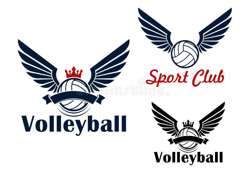 Het symbool van het volleyballspel met gevleugelde ballen stock illustratie