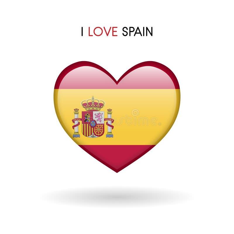 Het symbool van liefdespanje Het Glanzende pictogram van het vlaghart stock illustratie