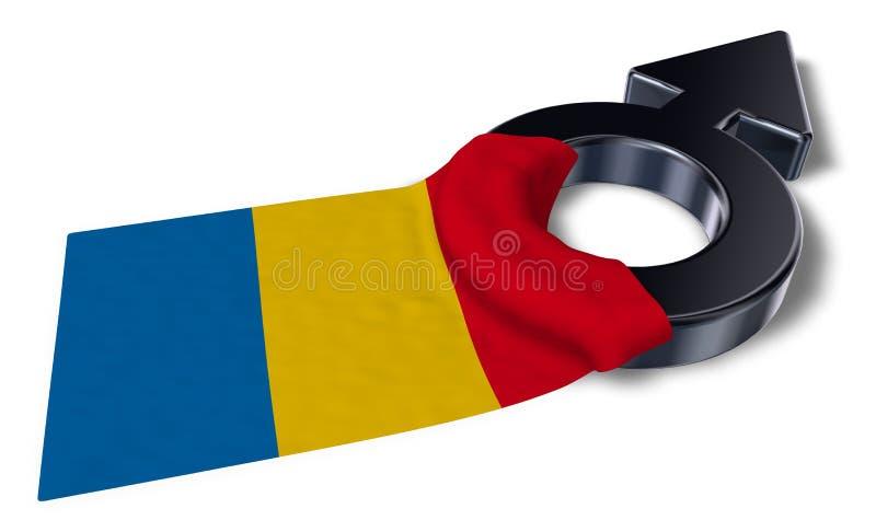 Het symbool van Mars en vlag van Roemenië stock illustratie