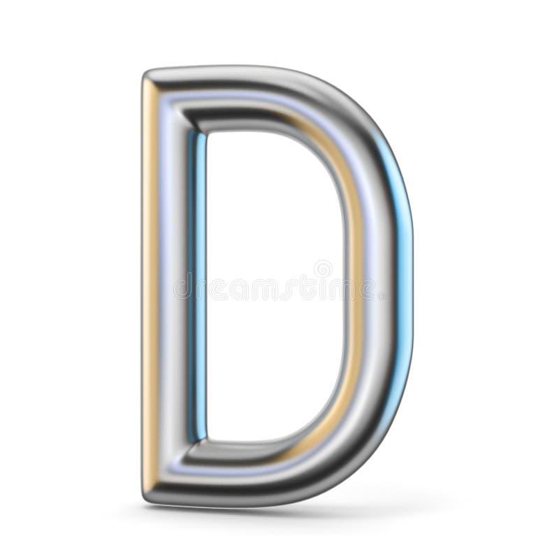 Het symbool van het metaalalfabet 3D brief D vector illustratie