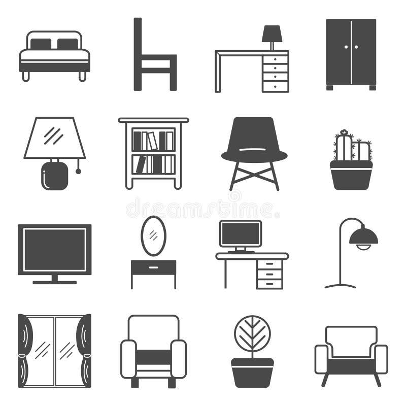 Het symbool van het meubilairpictogram op de witte achtergrond royalty-vrije illustratie