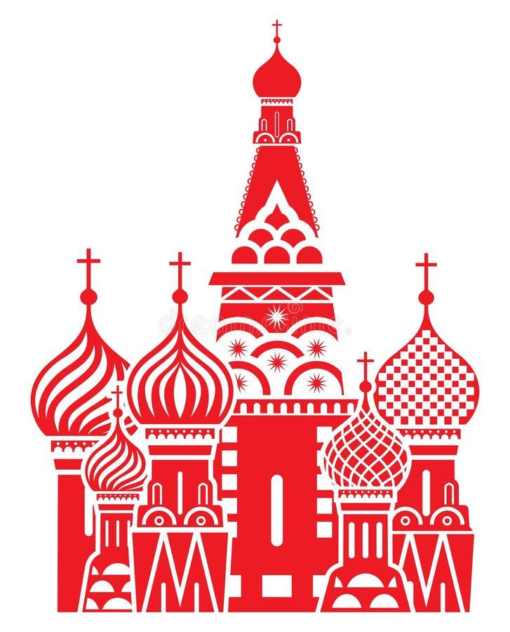 Het symbool van Moskou - de Kathedraal van het Basilicum van Heilige, Rusland royalty-vrije illustratie