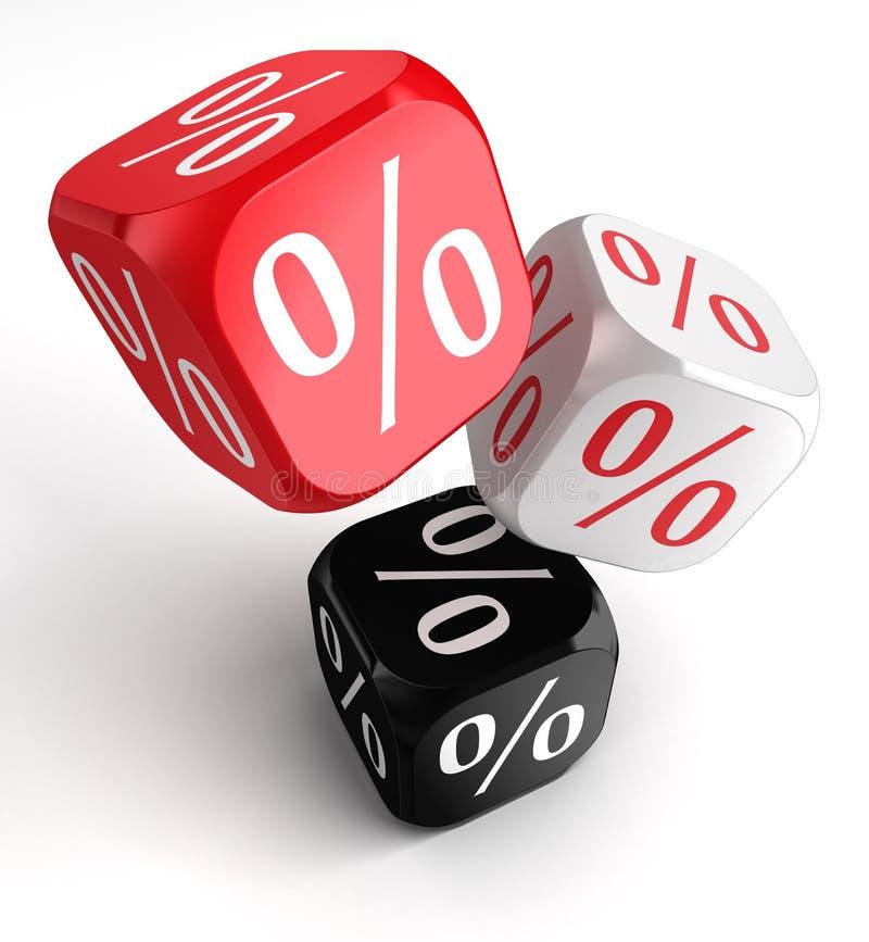 Het symbool van percenten dobbelt kubussen rode witte zwarte vector illustratie