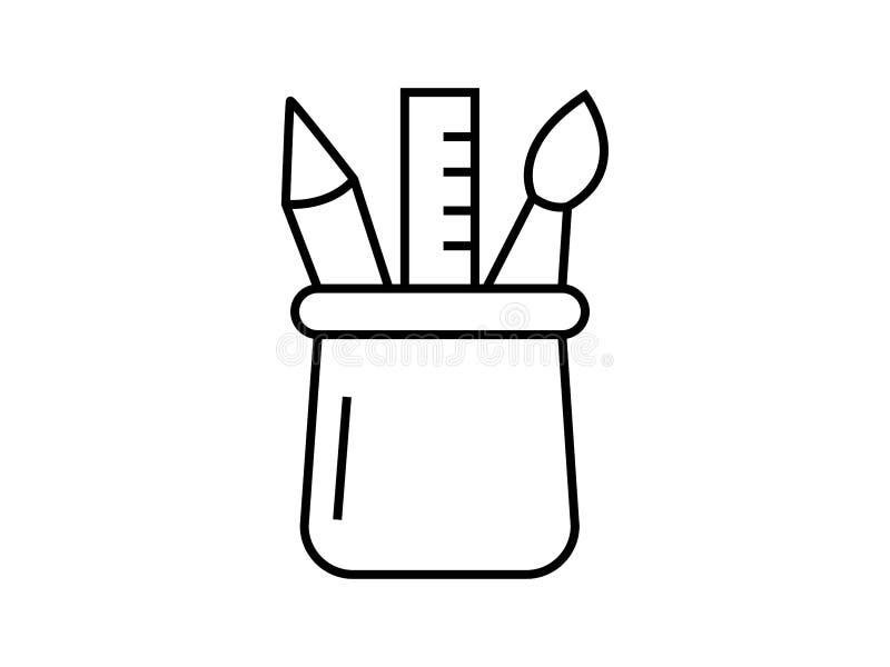 Het symbool van het potloodgeval royalty-vrije illustratie