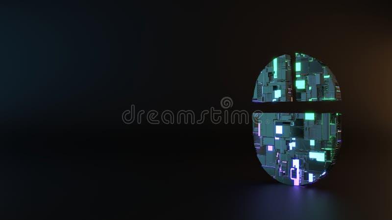 Het symbool van het science fictionmetaal van computerpictogram geeft terug stock foto