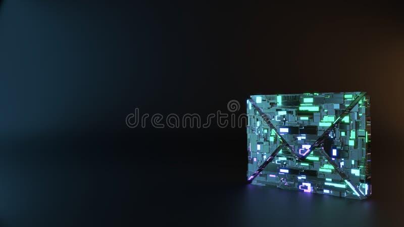 het symbool van het science fictionmetaal van document dicht enveloppictogram geeft terug royalty-vrije stock afbeelding