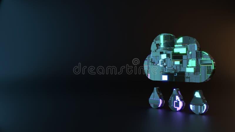 het symbool van het science fictionmetaal van het pictogram van de regenwolk geeft terug stock foto