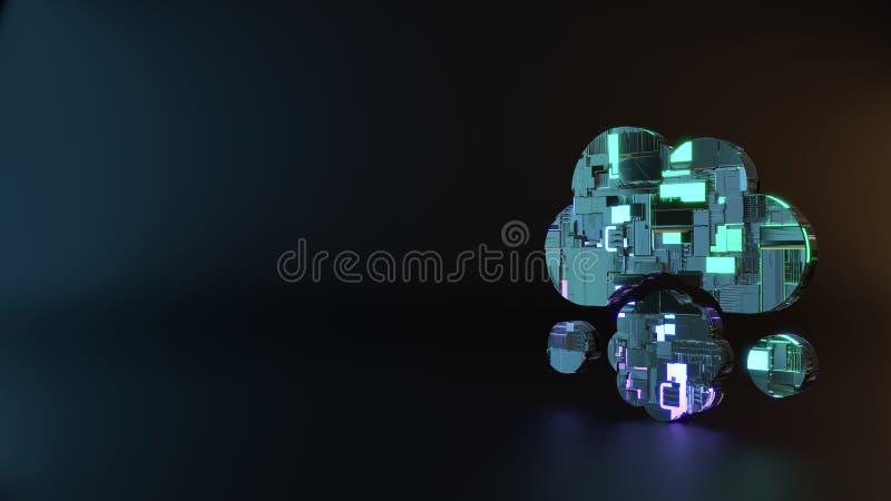 het symbool van het science fictionmetaal van het pictogram van het wolkenvleesballetje geeft terug stock foto