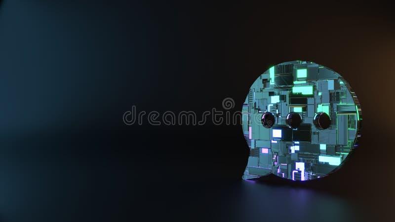 het symbool van het science fictionmetaal van het rond gemaakte pictogram van de praatjebel geeft terug stock foto