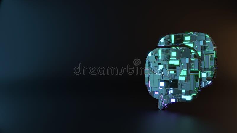 het symbool van het science fictionmetaal van het rond gemaakte pictogram van praatjebellen geeft terug stock foto