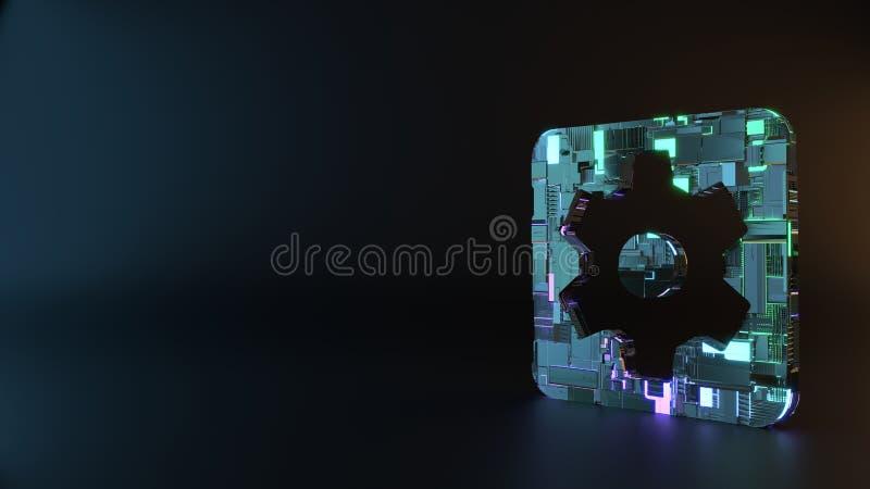 het symbool van het science fictionmetaal van tandrad in vierkant pictogram geeft terug stock foto's