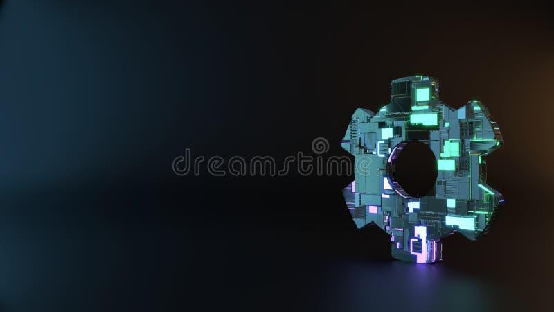 het symbool van het science fictionmetaal van tandradpictogram geeft terug royalty-vrije stock foto's