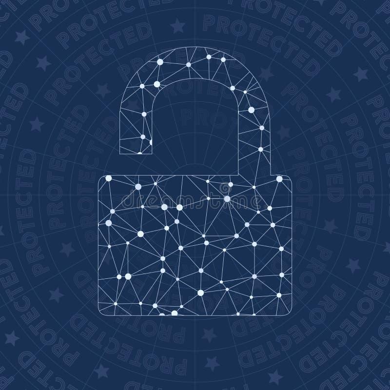 Het symbool van het slot open netwerk royalty-vrije illustratie