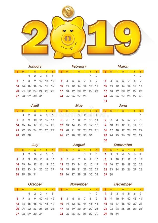 het symbool van het spaarvarken van 2019 stock illustratie