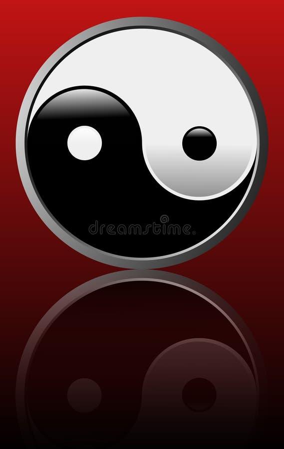 Het symbool van Tao - Rode achtergrond stock illustratie