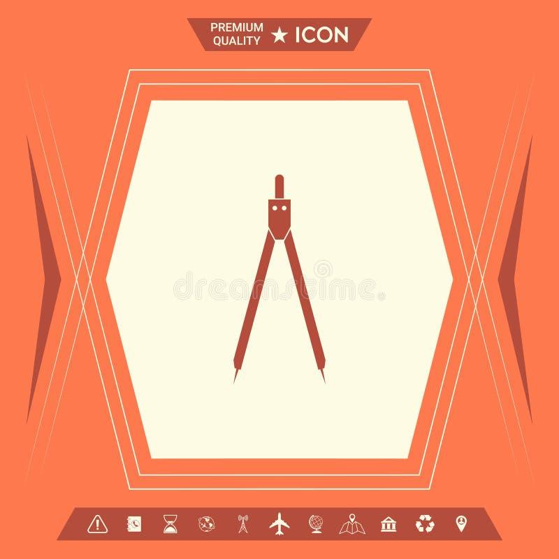 Het symbool van het tekeningskompas stock illustratie