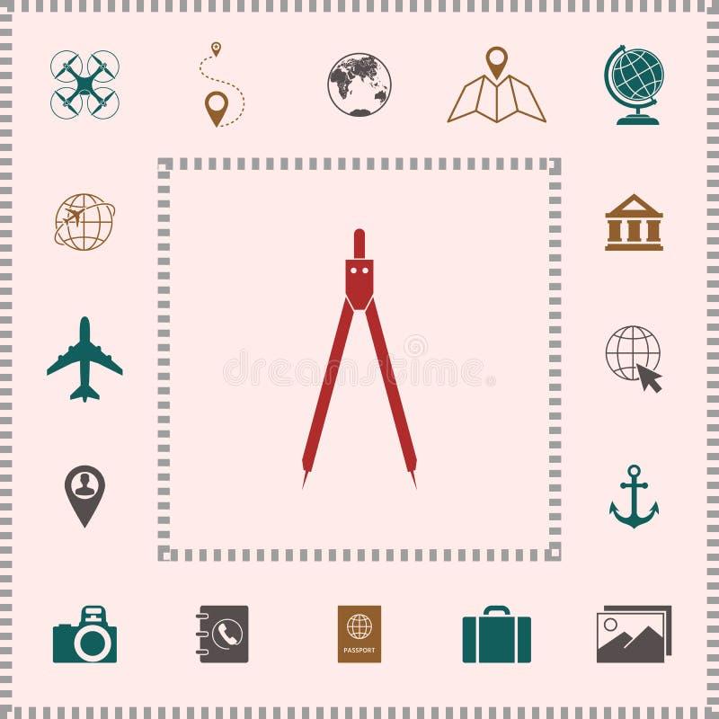 Het symbool van het tekeningskompas vector illustratie