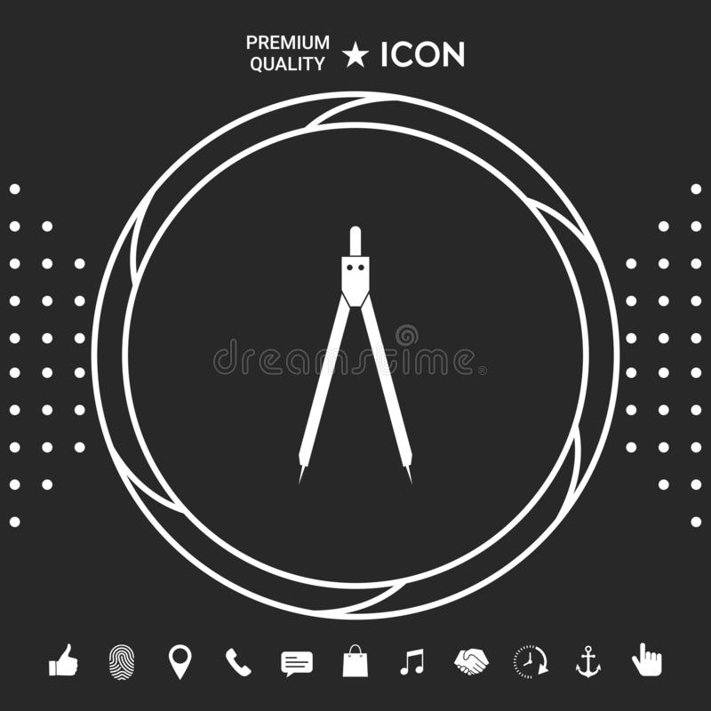 Het symbool van het tekeningskompas royalty-vrije illustratie