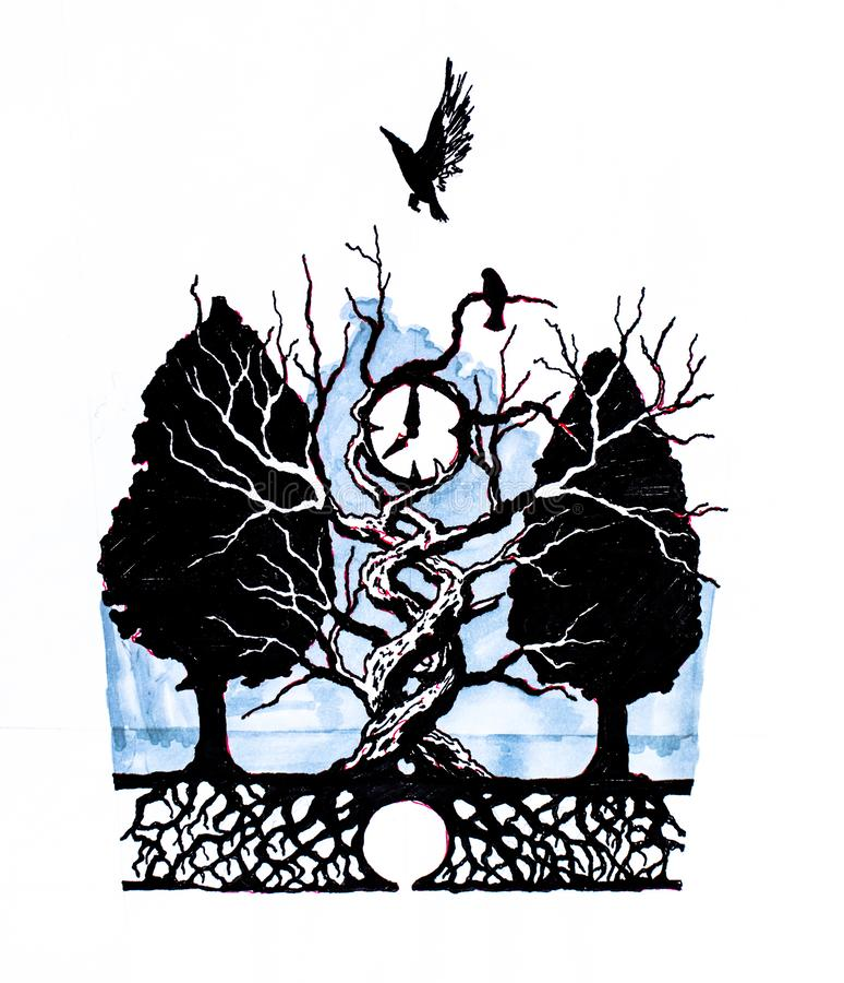 Het symbool van tijd De wijzerplaat van het horloge, van de grond door de takken van een boom wordt opgeheven die stock illustratie
