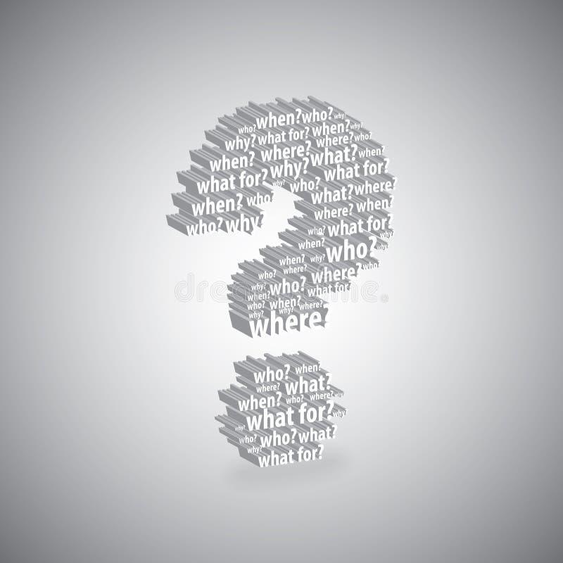 Het symbool van vraagtekenwoorden stock illustratie