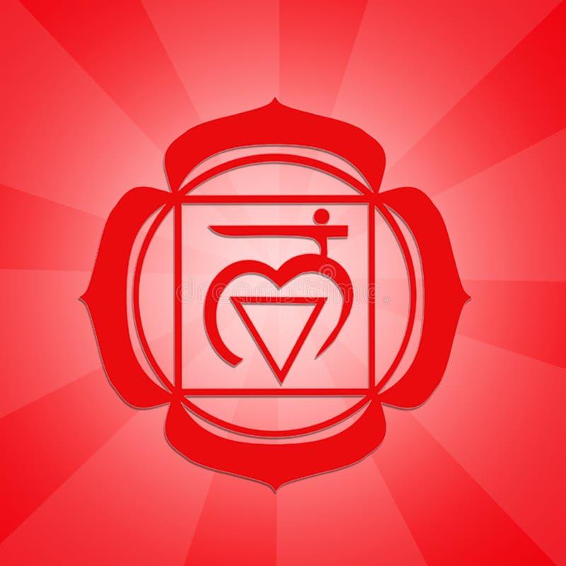 Het symbool van wortelchakra stock illustratie