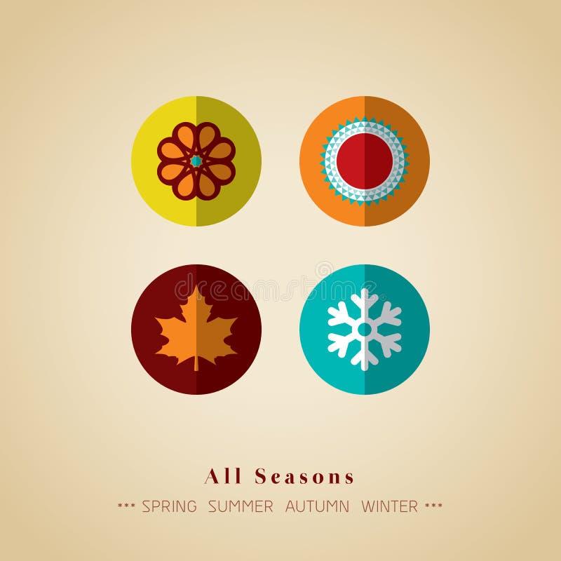 Het symbool vectorillustratie van het vier seizoenenpictogram royalty-vrije illustratie
