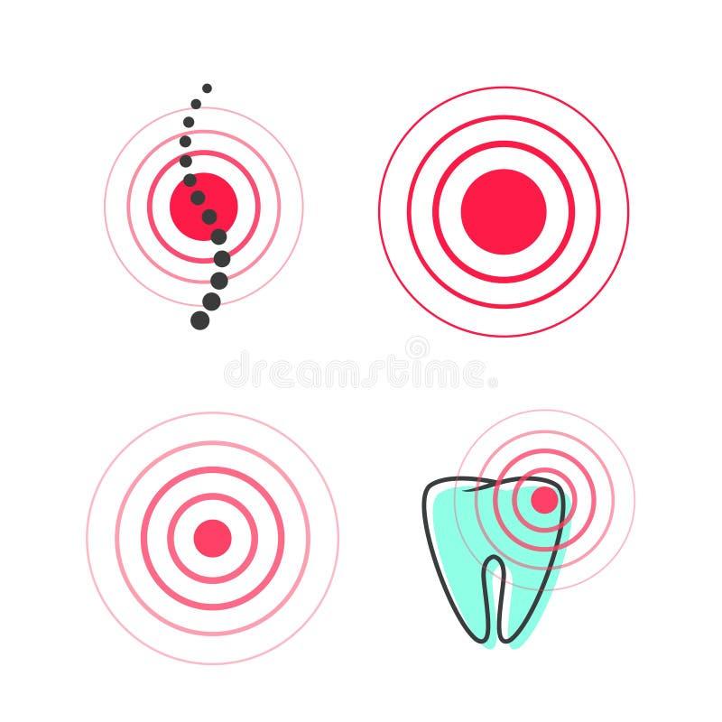 Het symbool vectorpictogram van de pijncirkel, medisch pijnlijk vlekpunt in tand of stekel, pijn of gekwetst teken clipart royalty-vrije illustratie