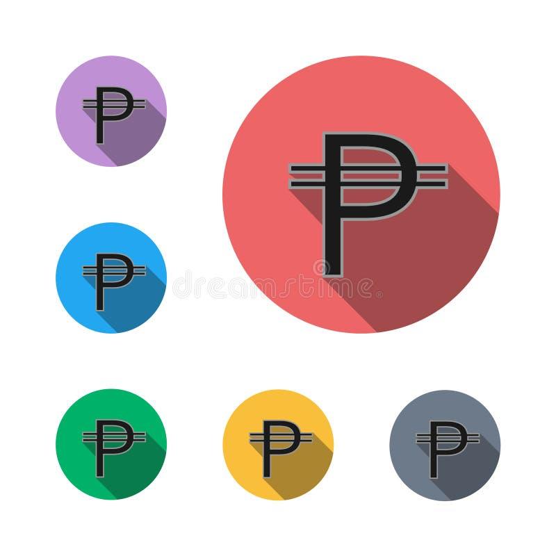 Het symbool vlak grafisch symbool van het pesopictogram stock fotografie