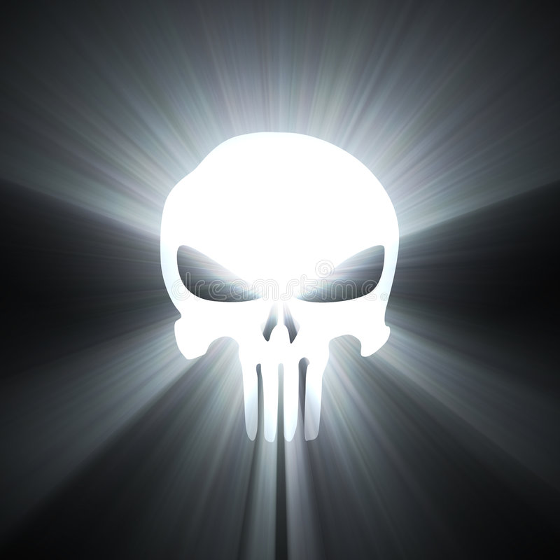 Het symbool witte lichte gloed van de schedel stock illustratie
