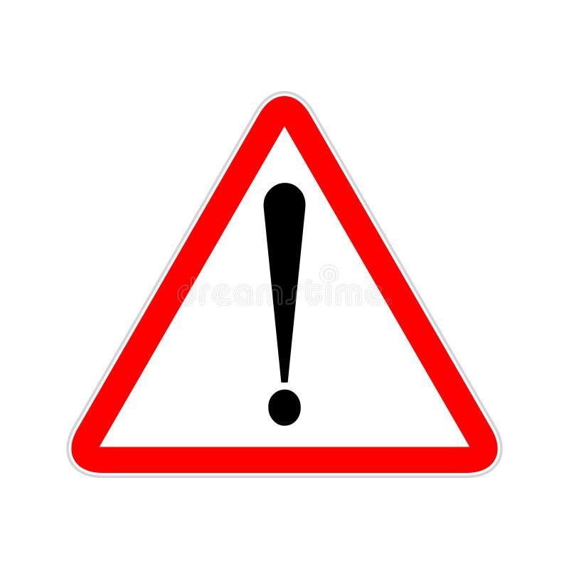 Het symbooldriehoek van het aandachtsteken De uitroep van het voorzichtigheidspictogram Waakzame verkeersteken royalty-vrije illustratie