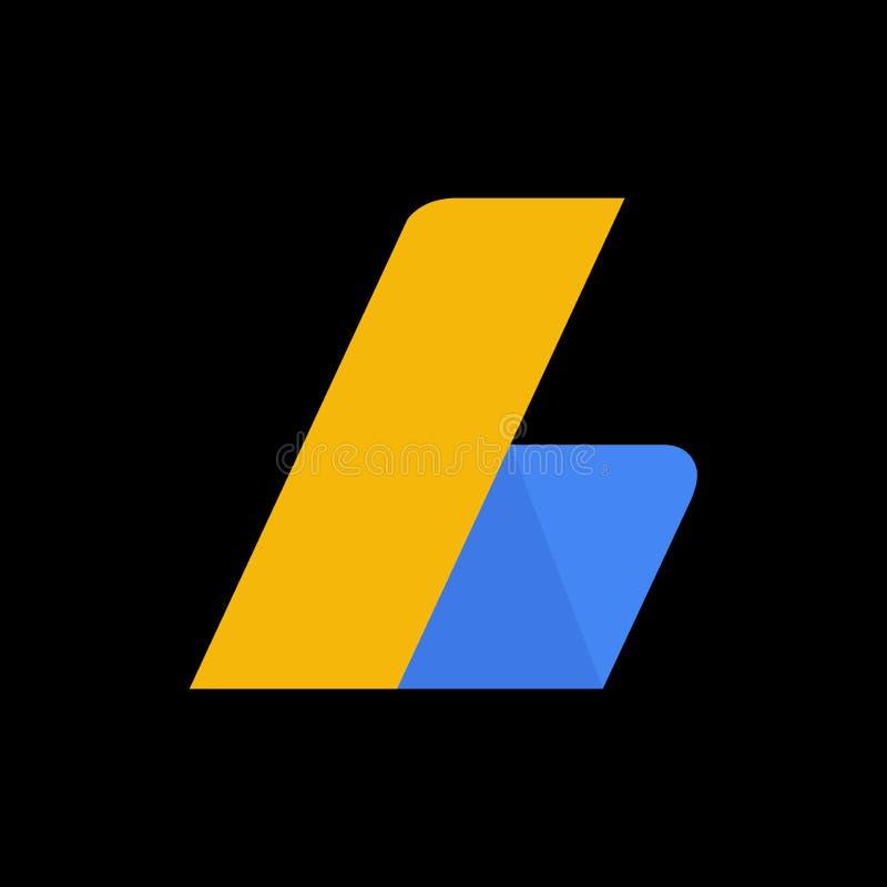 Het symboolembleem van Google adsense met zwarte achtergrond vector illustratie