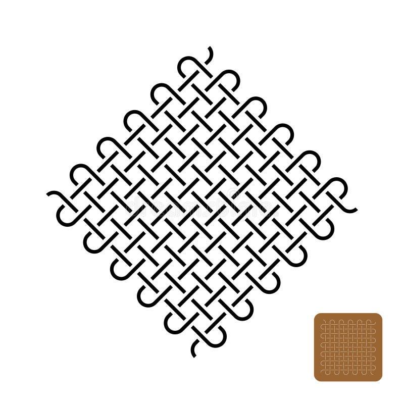 Het symboolillustratie van het knopenweefsel Geweven strak lijnensymbool vector illustratie