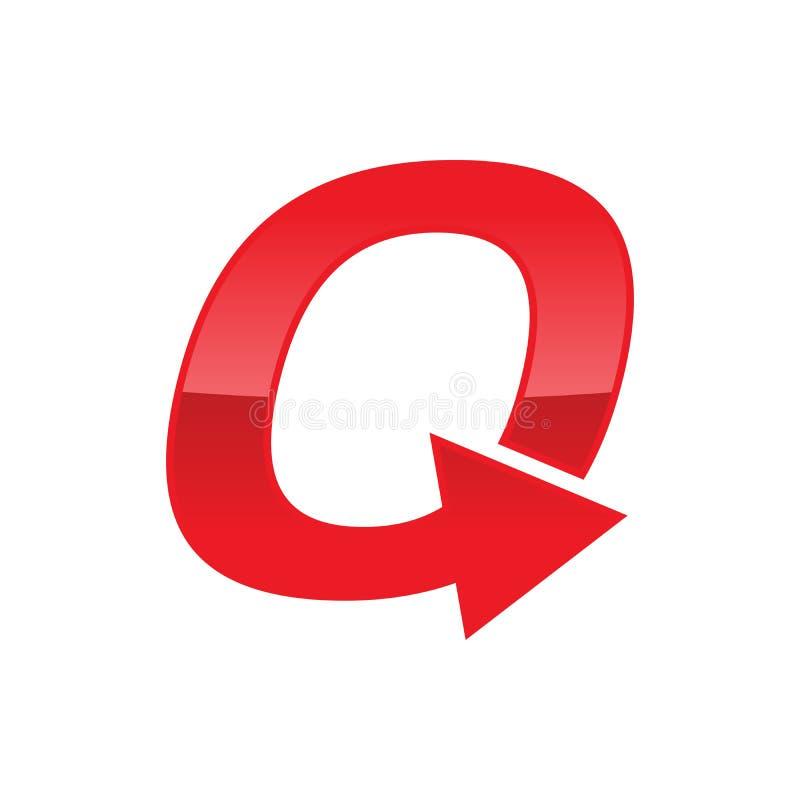 Het Symboolontwerp van Lettermark van het keerpunt Aanvankelijk Q Monogram stock illustratie