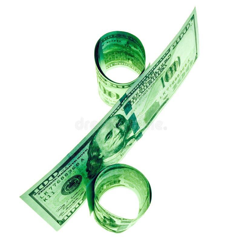 Het symboolpercent wordt samengesteld uit honderd-dollar rekeningen van de V.S. Concept krediet, geldschulden, lening Voor bedrij stock fotografie