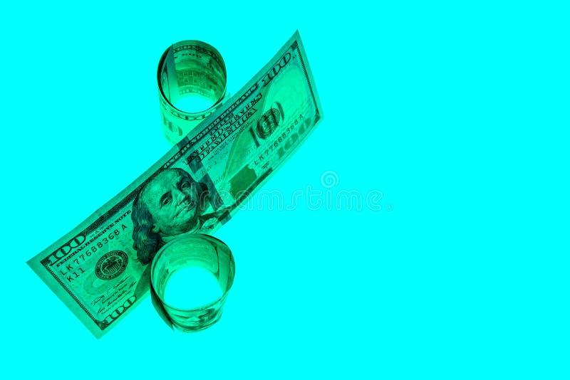 Het symboolpercent wordt samengesteld uit honderd-dollar rekeningen van de V.S. Concept krediet, geldschulden, lening Voor bedrij royalty-vrije stock foto's