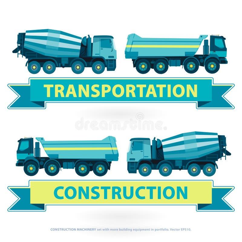 Het symboolreeks van bouwmachines De blauwe gele grondwerken Machinevoertuigen vector illustratie