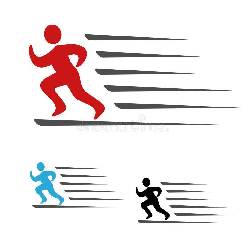Het symbooltarief van leveringspakket of het snelheidspictogram van download en uploadt, symbool van de lopende mens, agent stock illustratie
