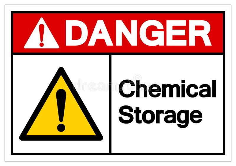Het Symboolteken van de gevaars isoleert het Chemische Opslag, Vectorillustratie, op Wit Etiket Als achtergrond EPS10 stock illustratie