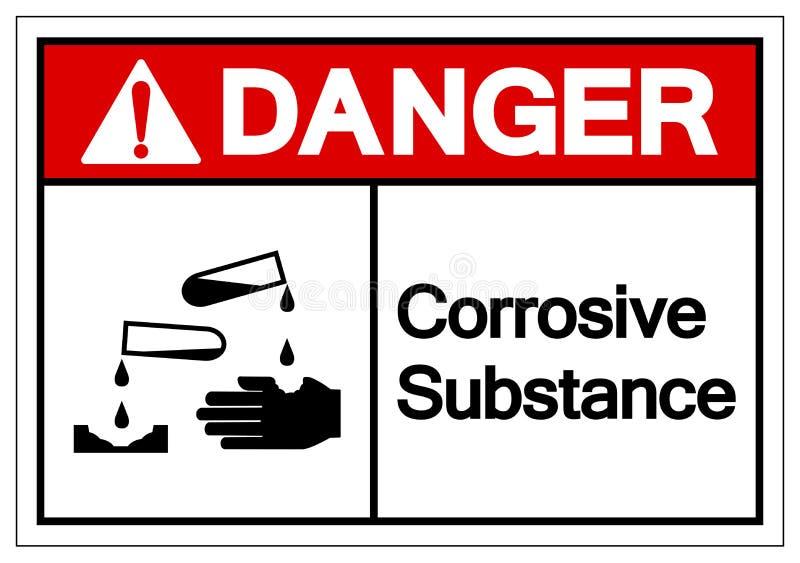 Het Symboolteken van de gevaars isoleert het Corrosieve Substantie, Vectorillustratie, op Wit Etiket Als achtergrond EPS10 stock illustratie