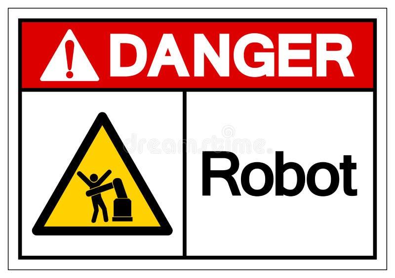 Het het Symboolteken van de gevaarsrobot, Vectorillustratie, isoleert op Wit Etiket Als achtergrond EPS10 royalty-vrije illustratie