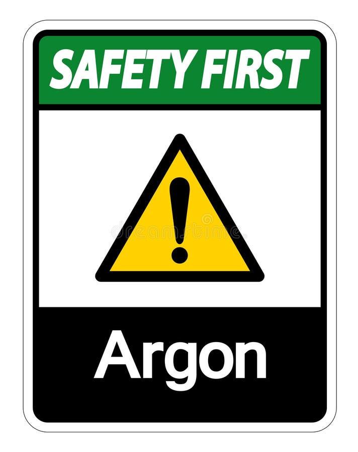 Het Symboolteken van het veiligheids isoleert het eerste Argon op Witte Achtergrond, Vectorillustratie royalty-vrije illustratie