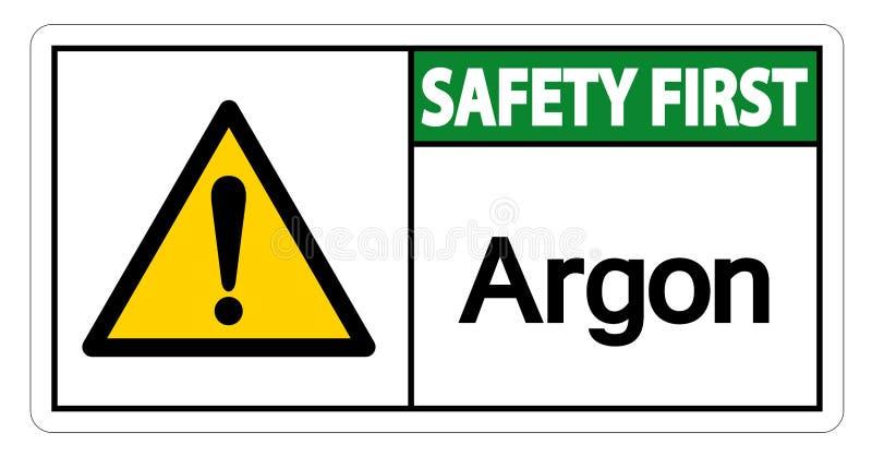 Het Symboolteken van het veiligheids isoleert het eerste Argon op Witte Achtergrond, Vectorillustratie vector illustratie