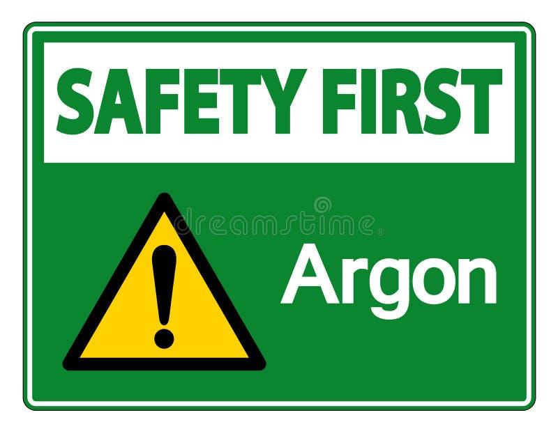 Het Symboolteken van het veiligheids isoleert het eerste Argon op Witte Achtergrond, Vectorillustratie stock illustratie