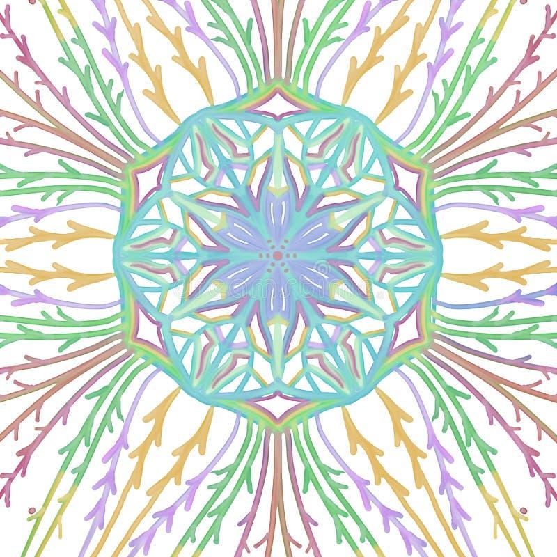 Het symmetrische patroon van de waterverfcaleidoscoop met wijnstokken en de verbinding van de centrumbloem vector illustratie