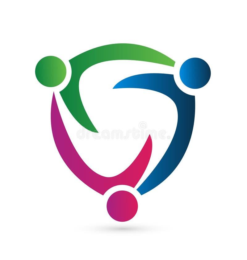 Het synergisme van teammensen Vectorembleemsymbool royalty-vrije illustratie