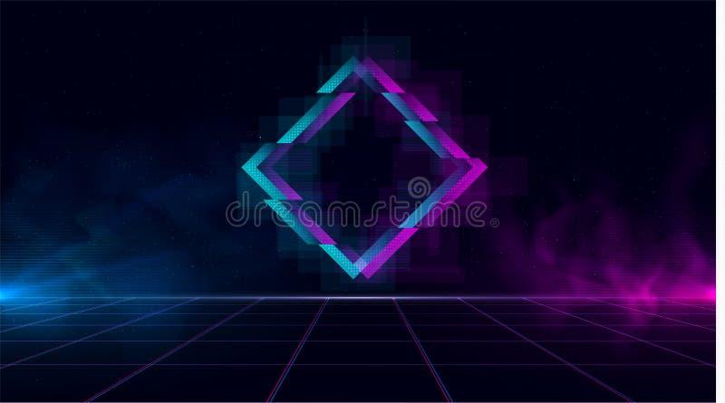 Het Synthwave vaporwave retrowave cyber landschap met fonkelende glitch ruit, lasernet, blauw en purple gloeit met stock illustratie